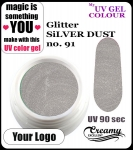 żel kolorowy UV color Gel 5 ml - 91 - glitter silver dust